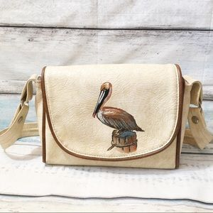 Vintage Pelican Leather Florida Keys Handbag